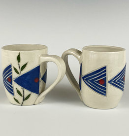 Anshula Tayal Amaati mug with blue Shibori design