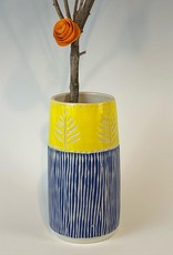 Anshula Tayal Amaati blue and yellow flower vase
