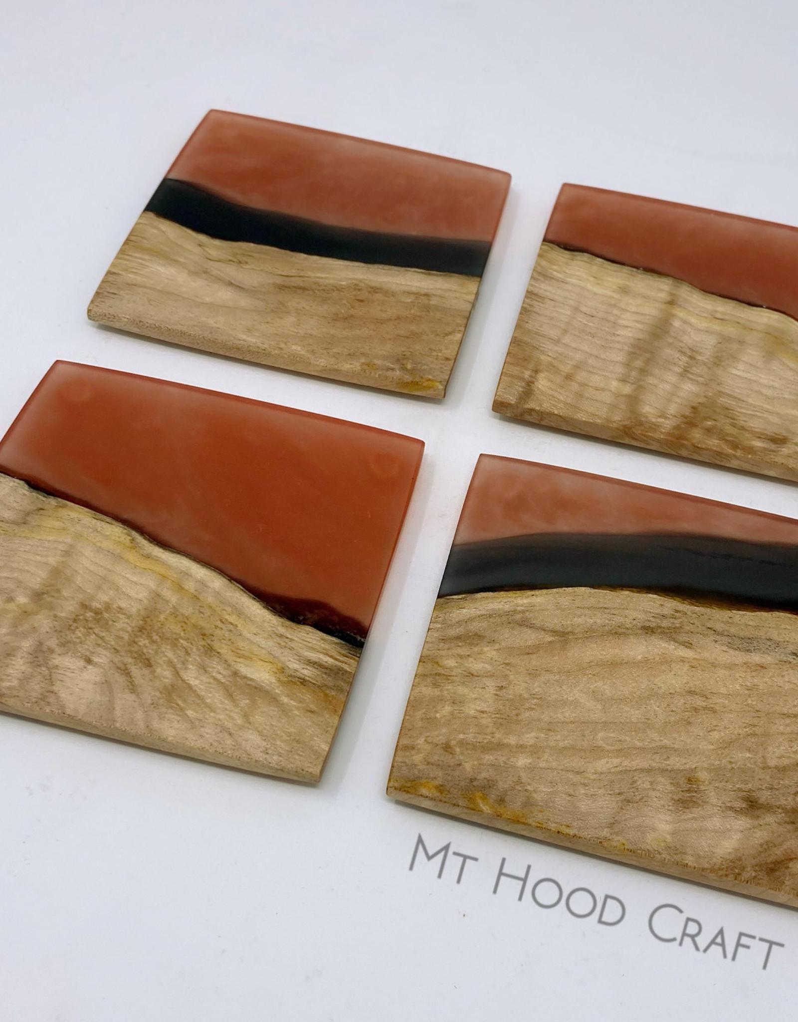 "Mt. Hood Craft ""Marmalade""- Wood and Resin Coasters (set of 4)"