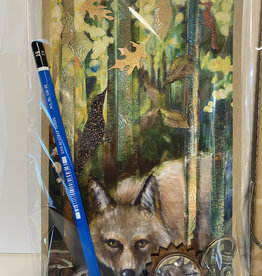 Jennifer Cook-Chrysos Moleskine sketchbook, 5.5 x 7.5, 80 pages, Coyote print cover, and 3B art pencil.