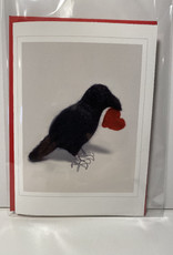 Jennifer Cook-Chrysos Chrysos Designs Artworks, Valentines Day Card, Crow with heart, 5 x 7 with red envelope