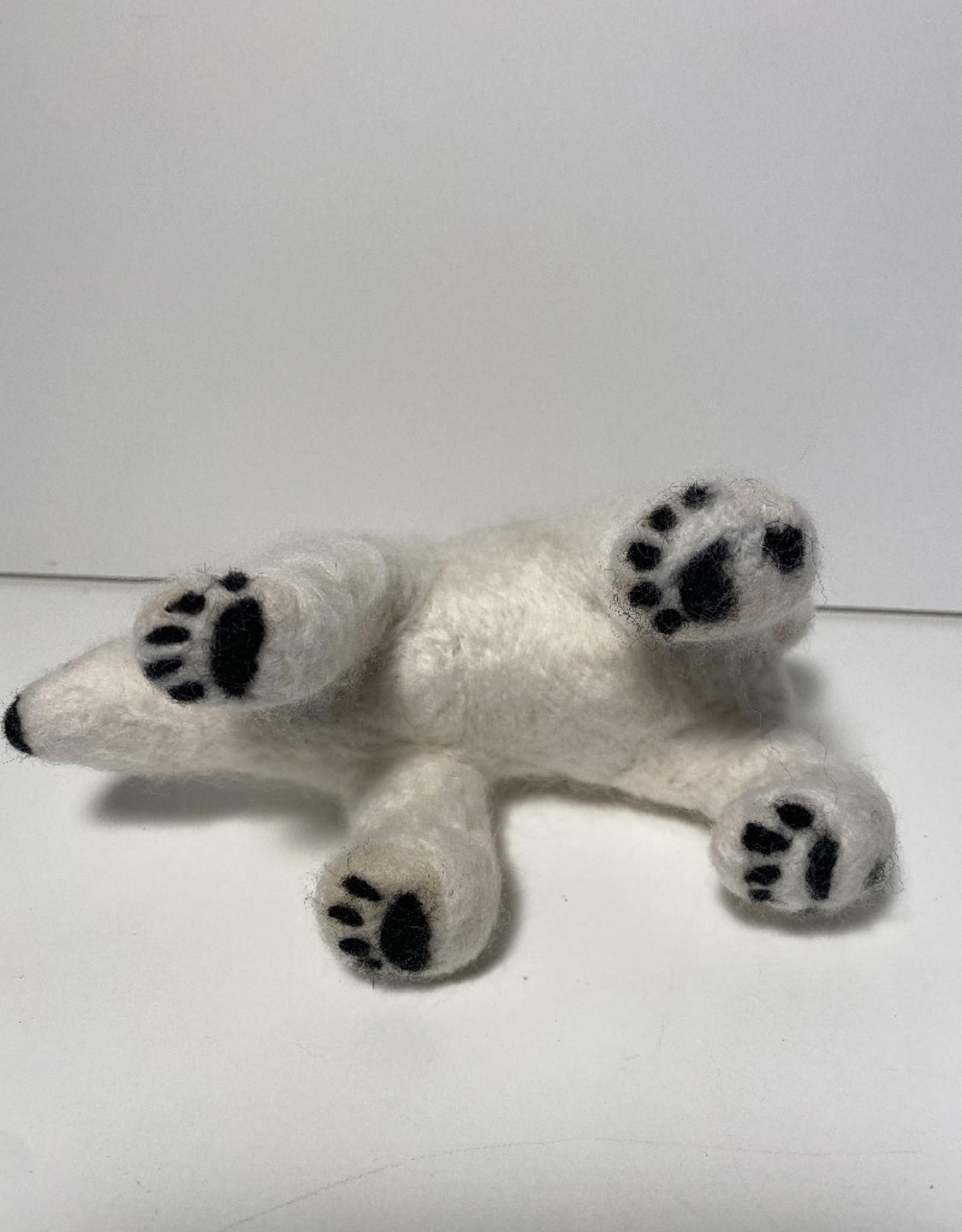 Jennifer Cook-Chrysos Chrysos Designs Artworks, Felted Polar Bear, 6 x 3.5 x 3 inches.
