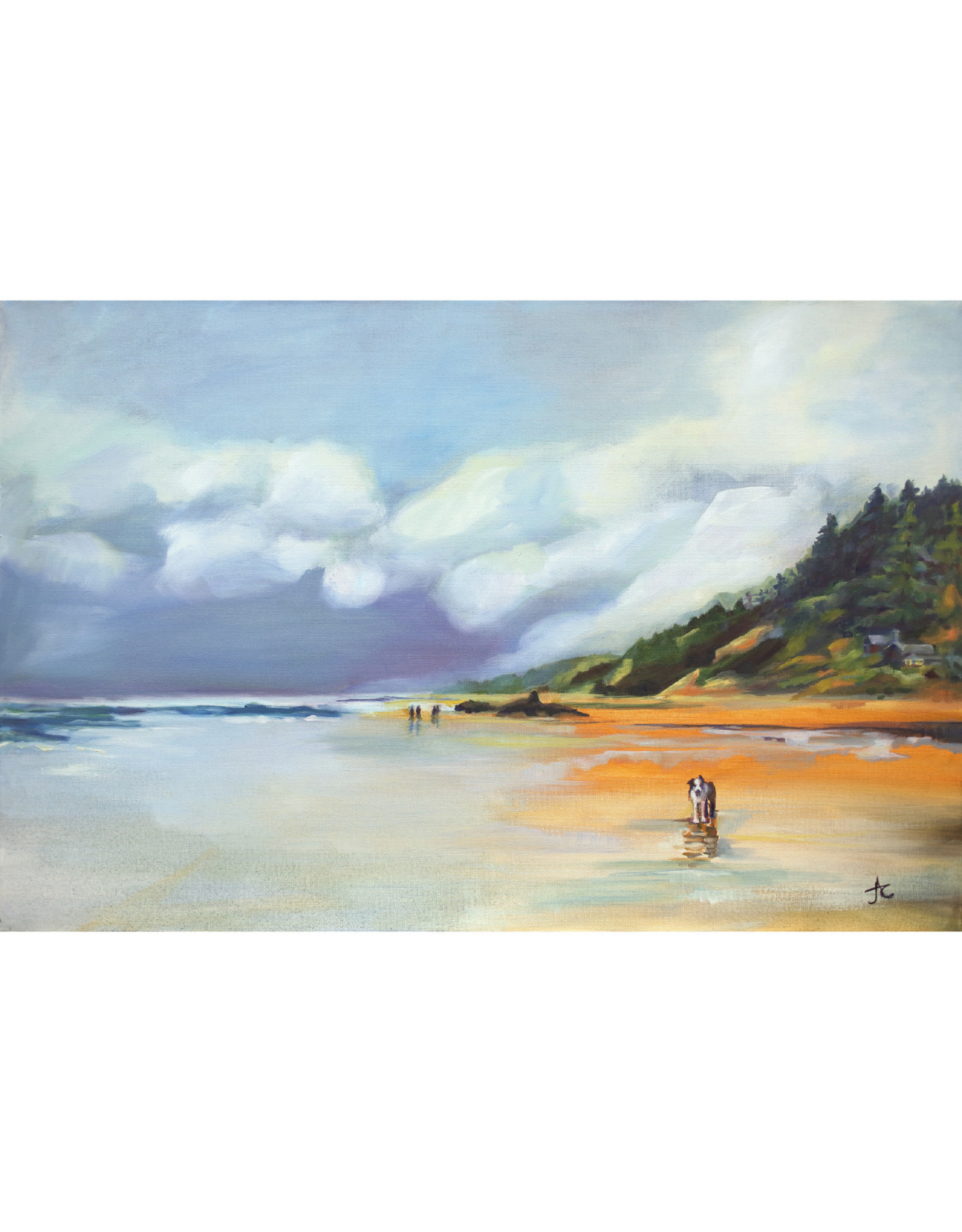 """Jennifer Cook-Chrysos Chrysos Designs Artworks, """"Dog Day at Arch Cape"""", Oil on Canvas, 36 x 24, framed."""