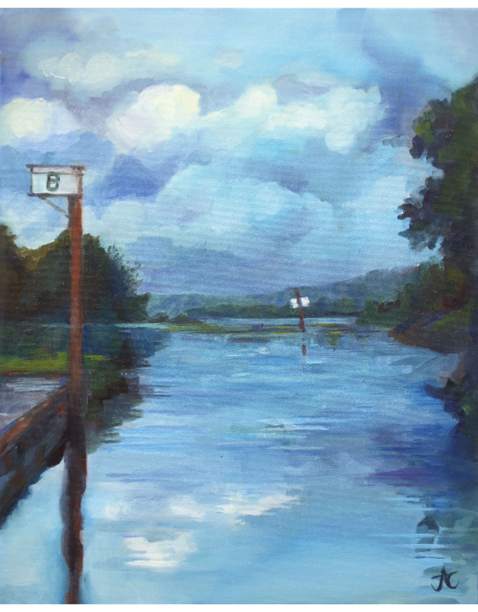 "Jennifer Cook-Chrysos Chrysos Designs Artworks, ""Willow Bar"", Oil on Canvas, 16 x 20, framed"