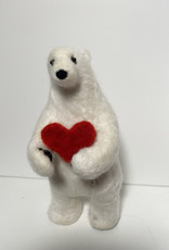Jennifer Cook-Chrysos Chrysos Designs Artworks, Felted Polar Bear with Heart, 3.5 x 3.5 x7.5