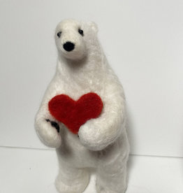 Jennifer Cook-Chrysos Chrysos Designs Artworks, Felted Polar Bear with Heart, 3.5 x 3.5 x7.5