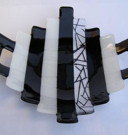 Ann Mackiernan Large Fused Glass Handled Bowl- Black & White