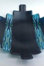 Ann Mackiernan Large Fused Glass Handled Bowl - Teal