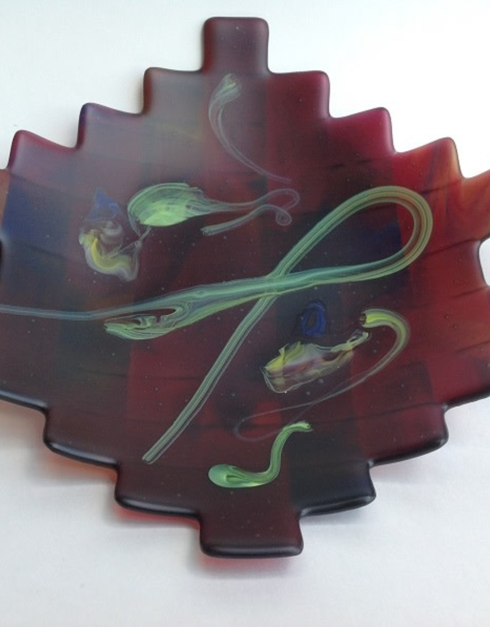 Ann Mackiernan Large Fused Glass Handled Bowl - Red