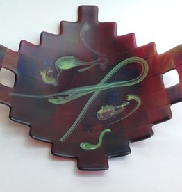 Ann Mackiernan Large Fused Glass Handled Bowl - Red