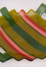 Ann Mackiernan Large Fused Glass Handled Bowl - Green & Coral