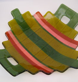 Ann Mackiernan Large Fused Glass Handled Bowl - Green & Coral