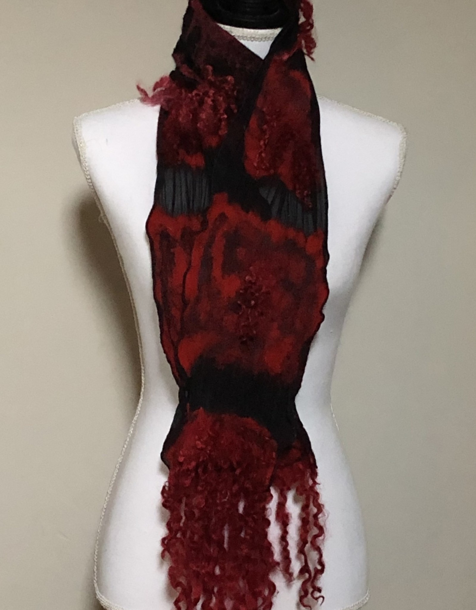 Ammi Brooks Red and Black Nuno Felted Scarf