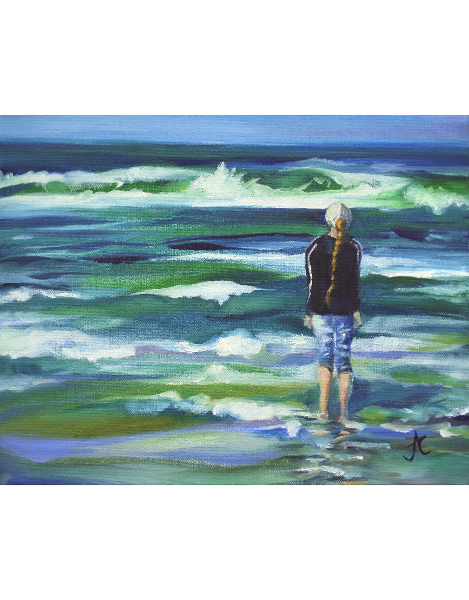 "Jennifer Cook-Chrysos Chrysos Designs Artworks, ""Girl at Sea"", Archival Print, 11 x 14"