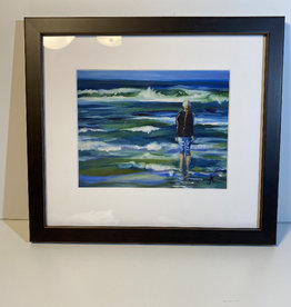 "Jennifer Cook-Chrysos Chrysos Designs Artwork, archival print, ""Girl at Sea"", 6.5 x 8, matted, art frame"