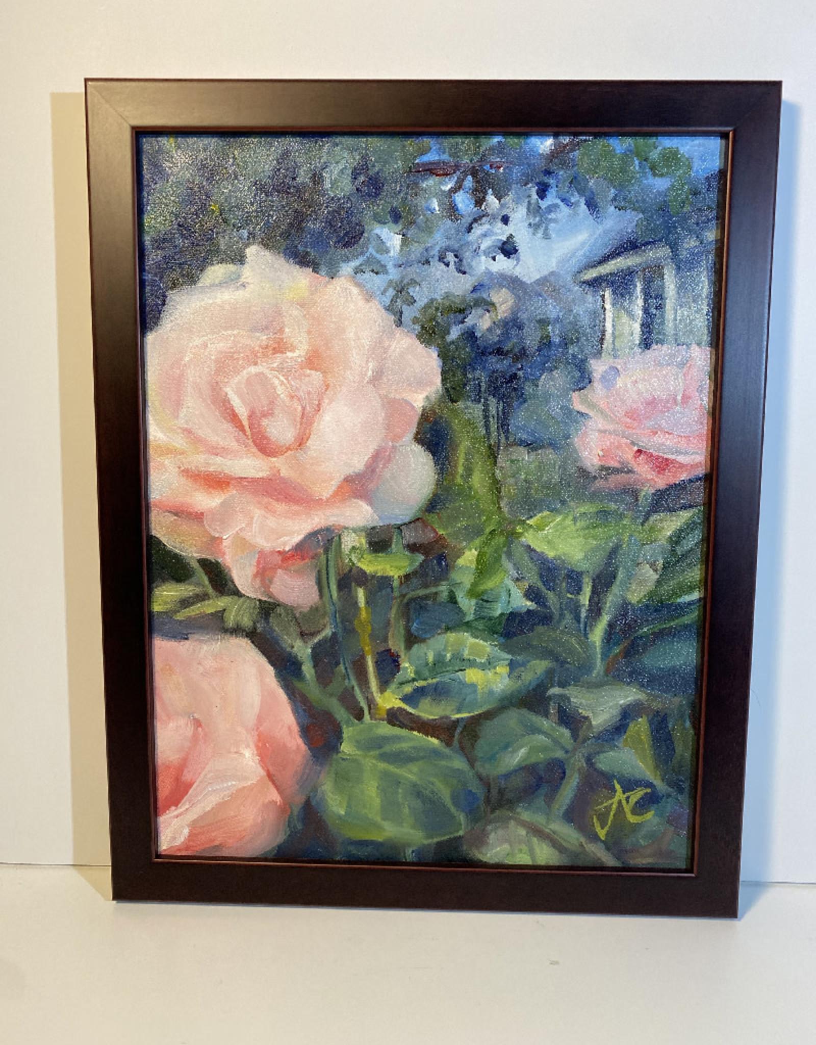 "Jennifer Cook-Chrysos Chrysos Designs Artwork, ""Rose Garden, Oil on Canvas, 11 x 14, framed"
