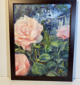 "Jennifer Cook-Chrysos Chrysos Designs Artwork, ""Rose Garden, Oil on Canvas, 11 x 14, framed"
