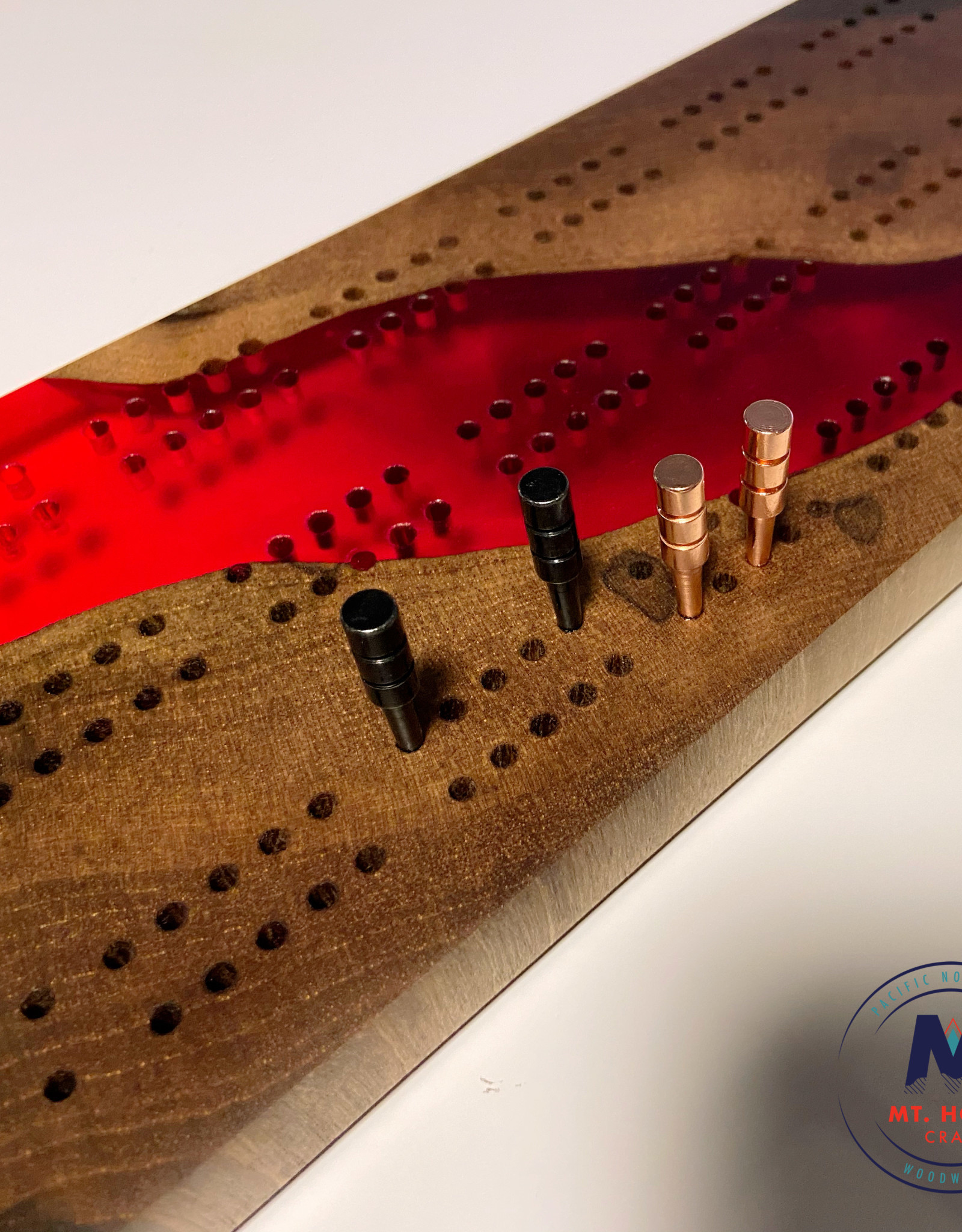 """Ron and Ellie Purvis Mt. Hood Craft - """"River of Love"""" Cribbage Board"""
