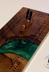 """Ron and Ellie Purvis Mt. Hood Craft - """"Cabin in the Woods"""" Cribbage Board"""
