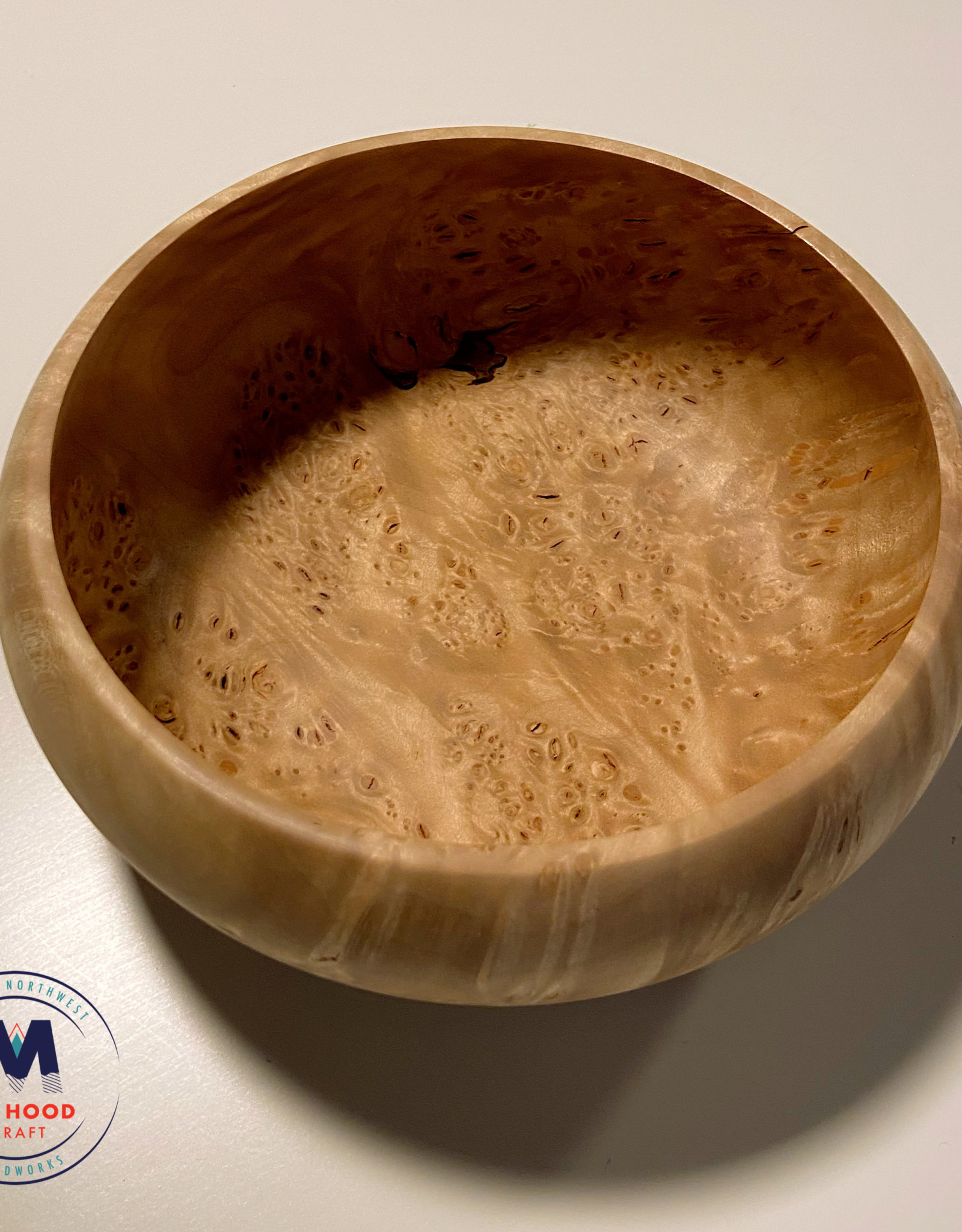 "Ron and Ellie Purvis Mt. Hood Craft - ""Harvest Moon"" - Hand Turned Maple Burl Bowl"