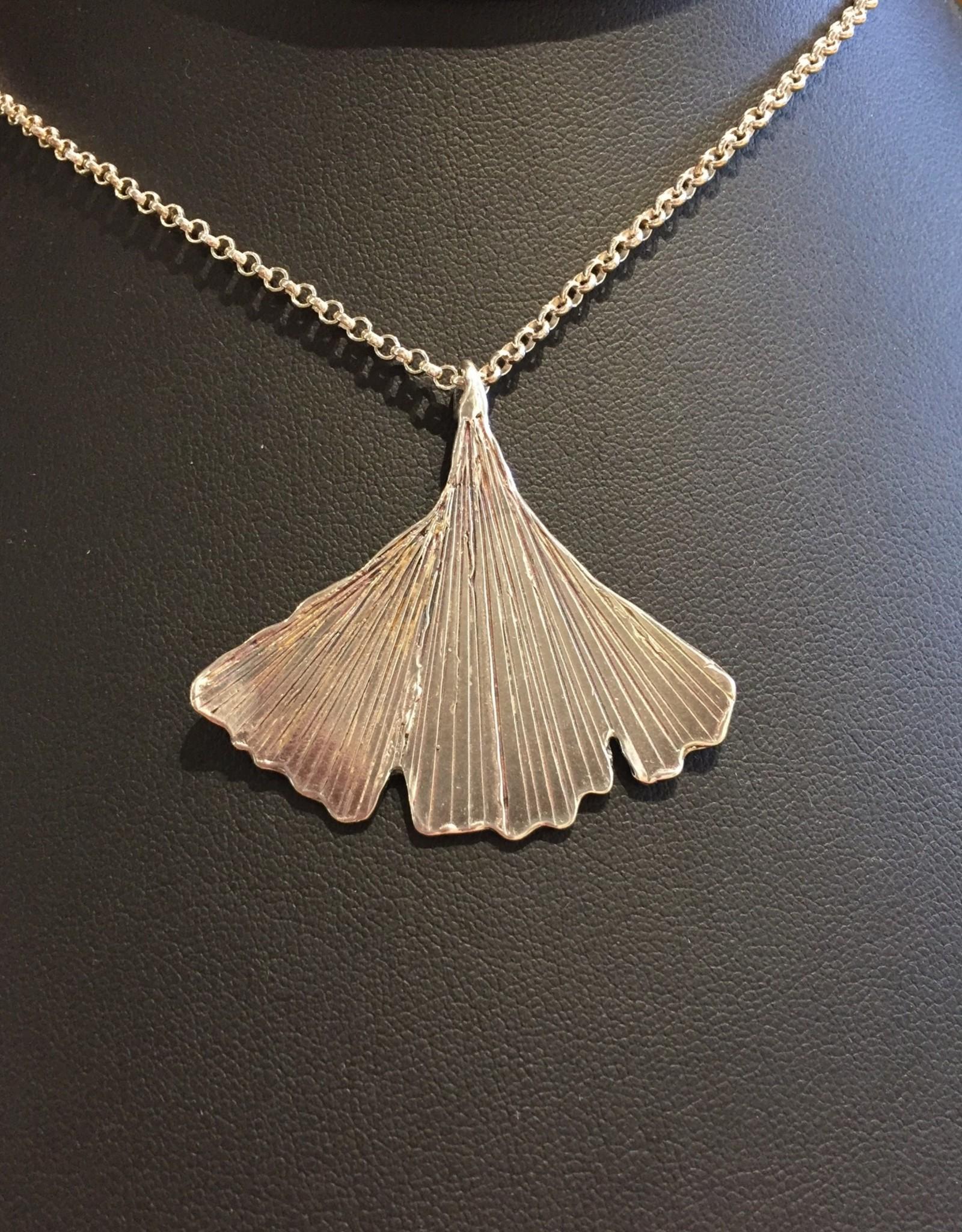 Susan Hunter Bodie/necklace/sterling silver/ginkgo leaf