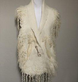 Ammi Brooks Elegant White Wool Scarf