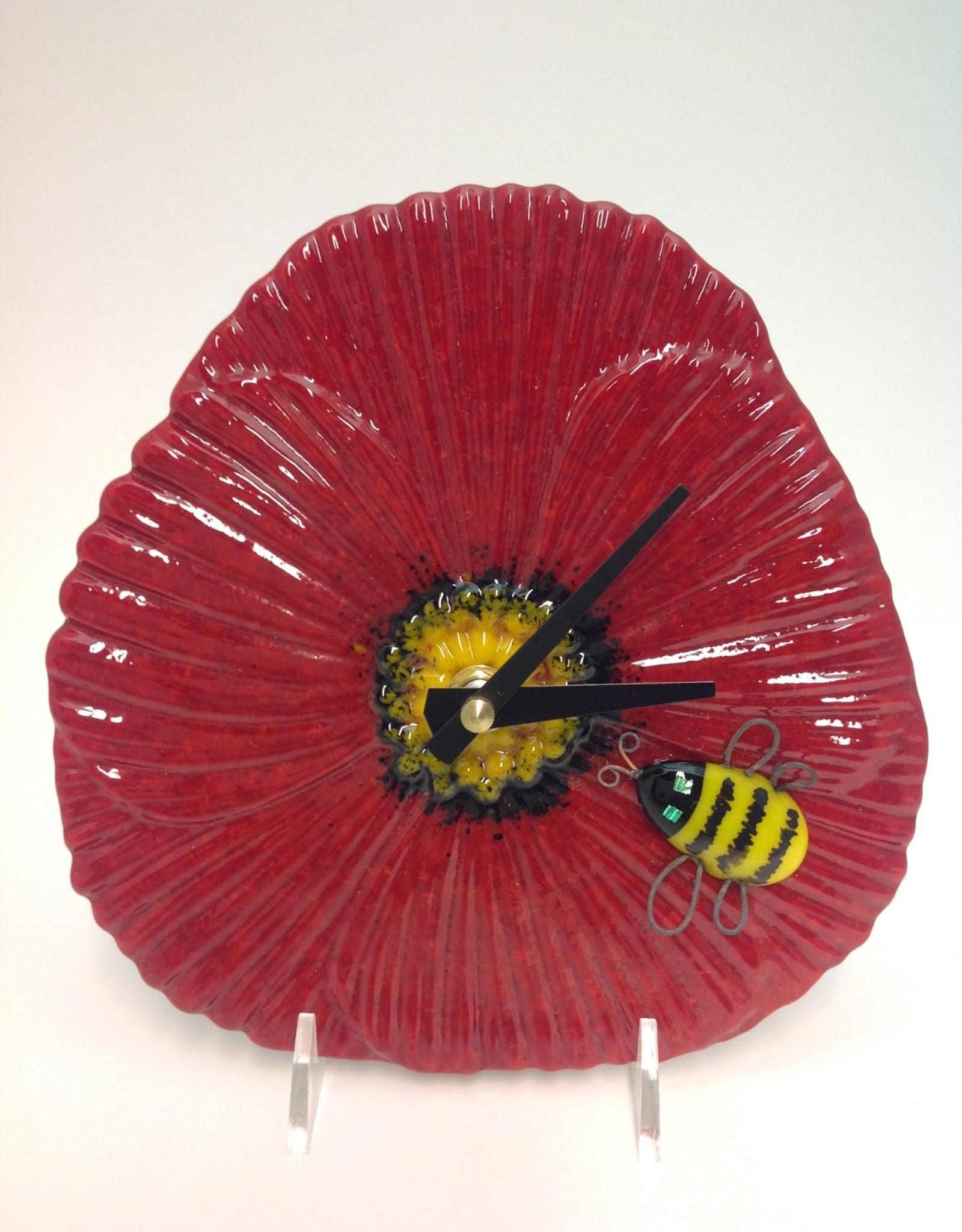 Ann Mackiernan Poppy Clock - Red