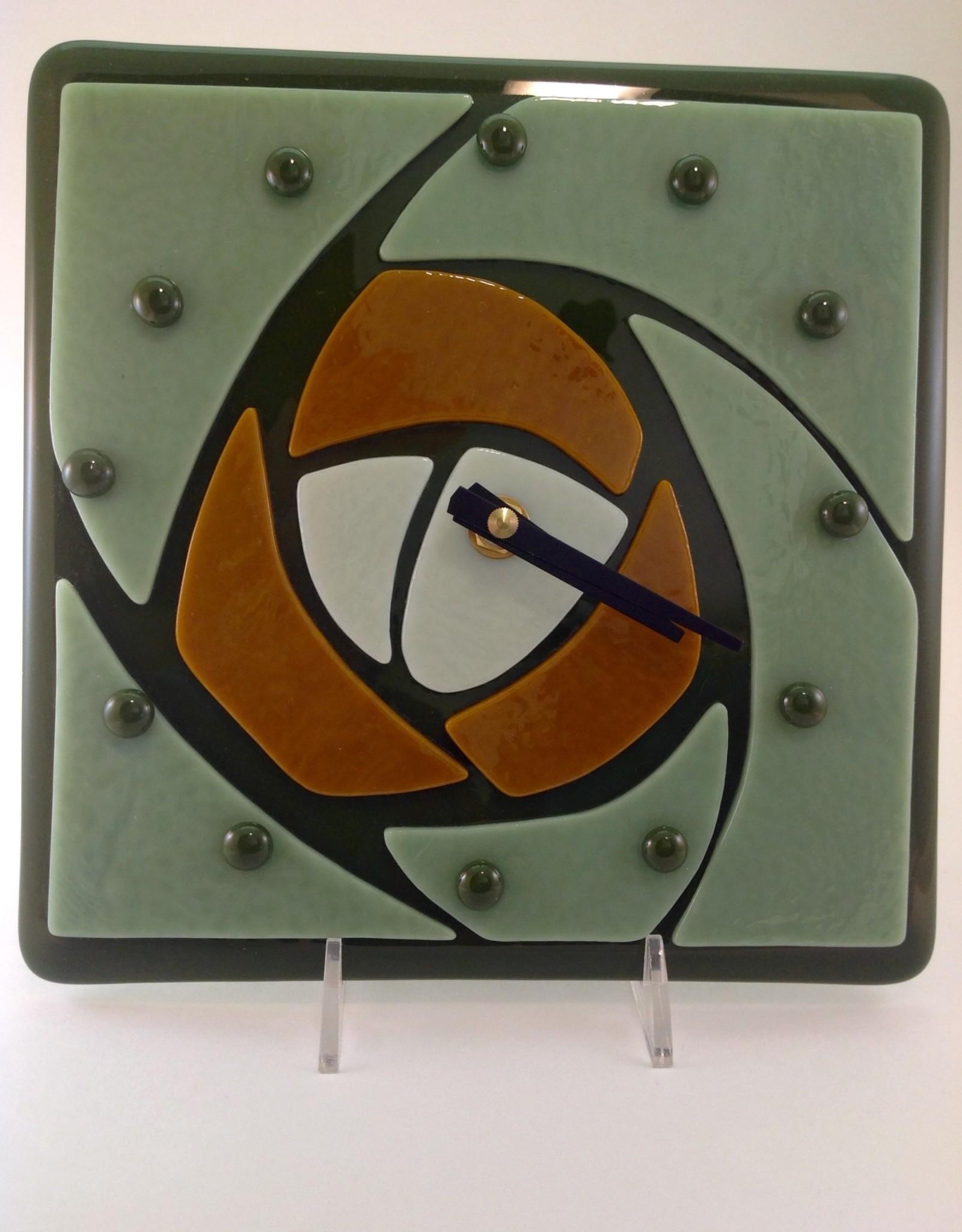 Ann Mackiernan Glasgow Rose Clock- Green