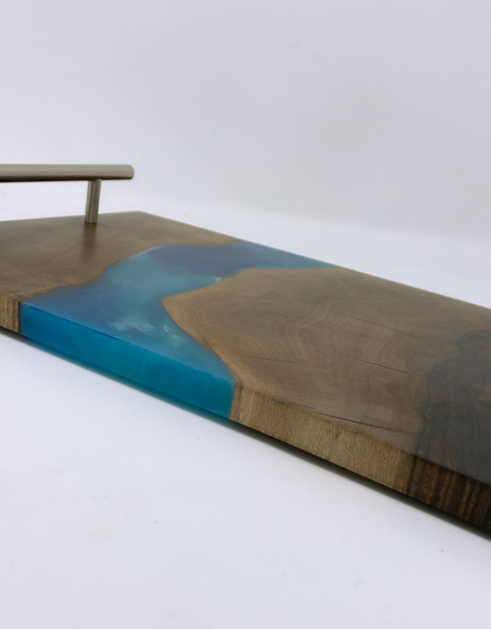 "Ron and Ellie Purvis Mt. Hood Craft - ""Sandy River"" Wood and Resin Serving Tray"