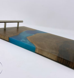 """Ron and Ellie Purvis Mt. Hood Craft - """"Sandy River"""" Wood and Resin Serving Tray"""
