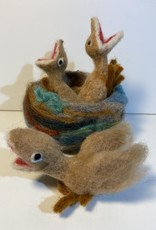 Chrysos Designs Artworks, Hatchlings in Nest (set), felted.