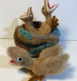 Chrysos Designs Artworks, Hatchlings in Nest (set), felted.