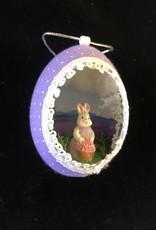 Ammi Brooks Lavender Bunny Real Egg Ornament