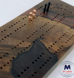 """Ron and Ellie Purvis MHC - """"Middle Earth"""" Cribbage Board English Walnut"""