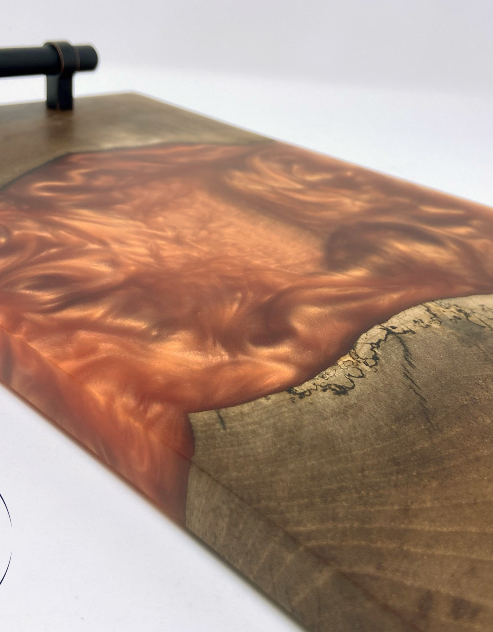 """Ron and Ellie Purvis MHC - """"Hammered"""" Wood and Resin Serving Tray"""