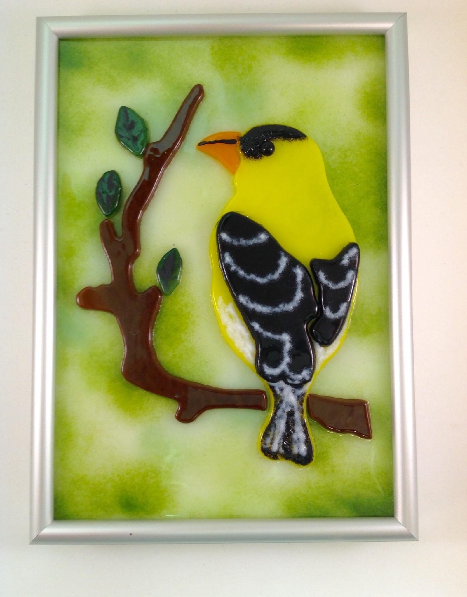 Ann Mackiernan Fused Glass Goldfinch Wall Hanging