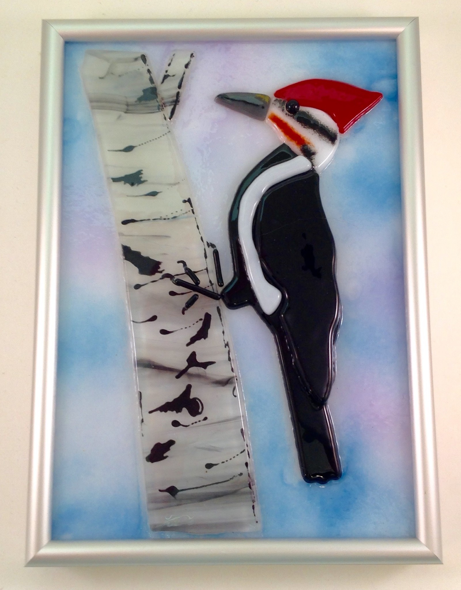Ann Mackiernan Fused Glass Pileated Woodpecker Wall Hanging