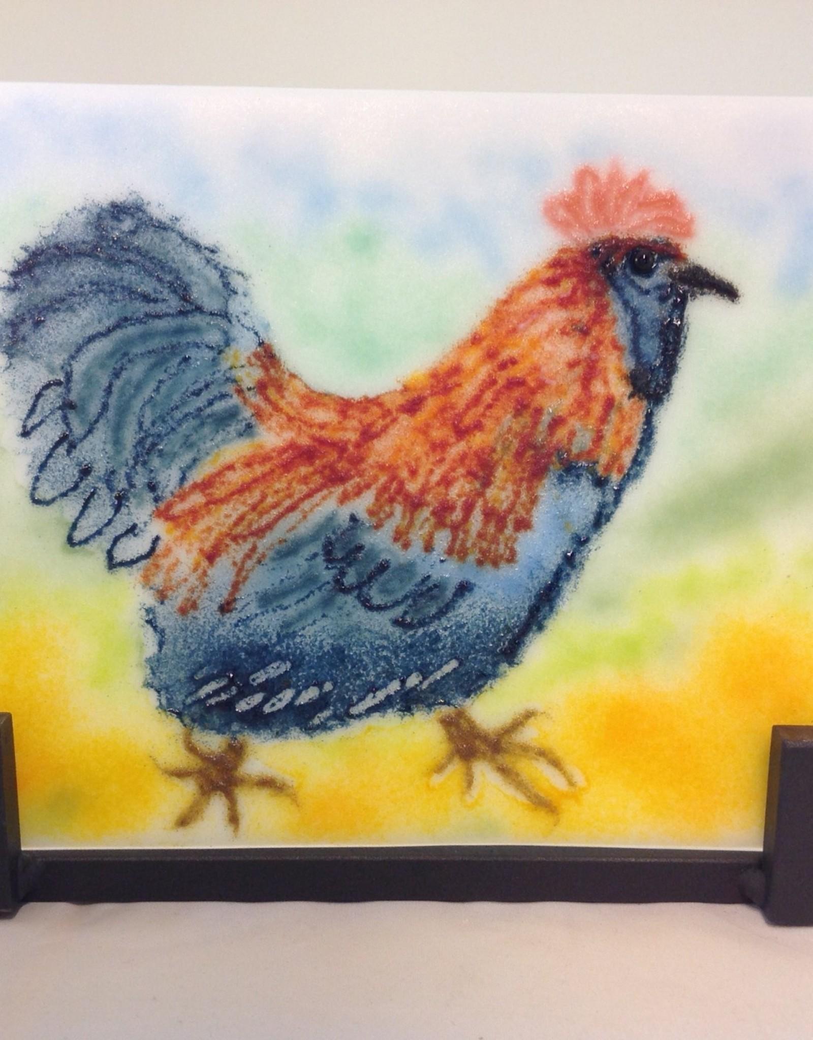 Ann Mackiernan Fused Glass Struttin' Rooster
