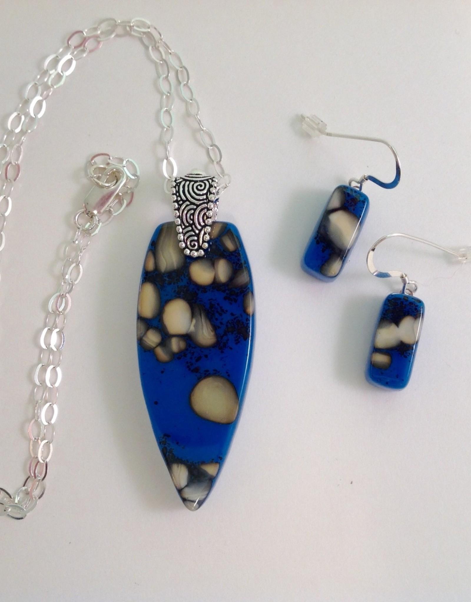 Ann Mackiernan Fused Glass Pendant & Earring Set - PE9