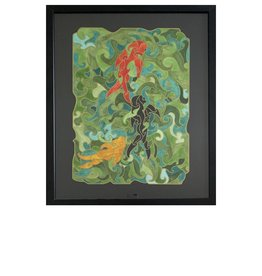 Kelly Casperson Three Koi framed original