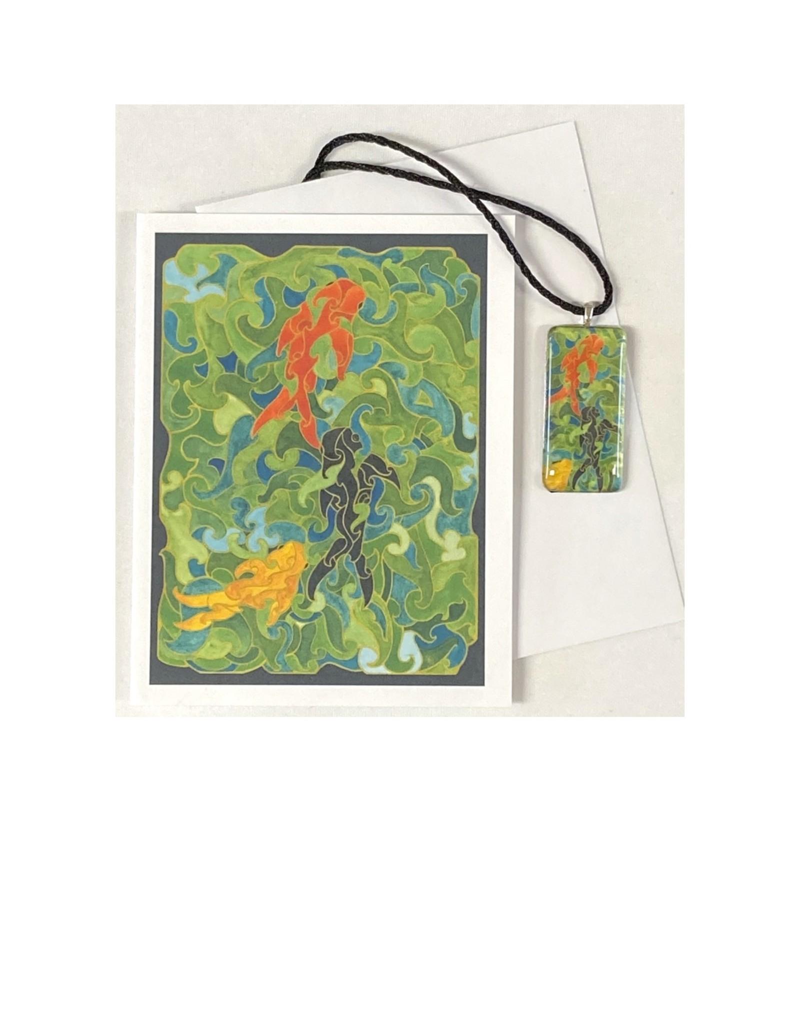 Kelly Casperson Three Koi pendant & card set