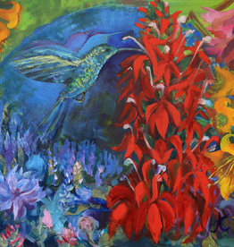 """Jennifer Cook-Chrysos Chrysos Designs Artworks, """"Symbiosis"""", Oil and Collage on Panel, 16 x 20"""