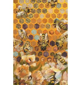 """Jennifer Cook-Chrysos Chrysos Designs Artworks, """"Hive Mind"""" Oil and Collage on Panel, 12 x 24"""