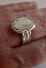Lilly Parker Abalone Shell, Sterling Silver, Tri-band Ring Size 7.5