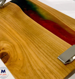 """Ron and Ellie Purvis MHC- """"Happy"""" - Wood and Resin Serving Tray"""