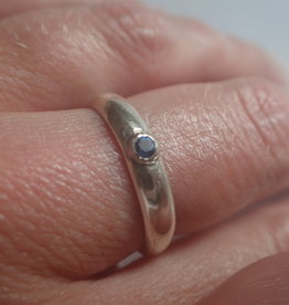 Lilly Parker Blue Spinel, Sterling Silver Ring Size 8.5