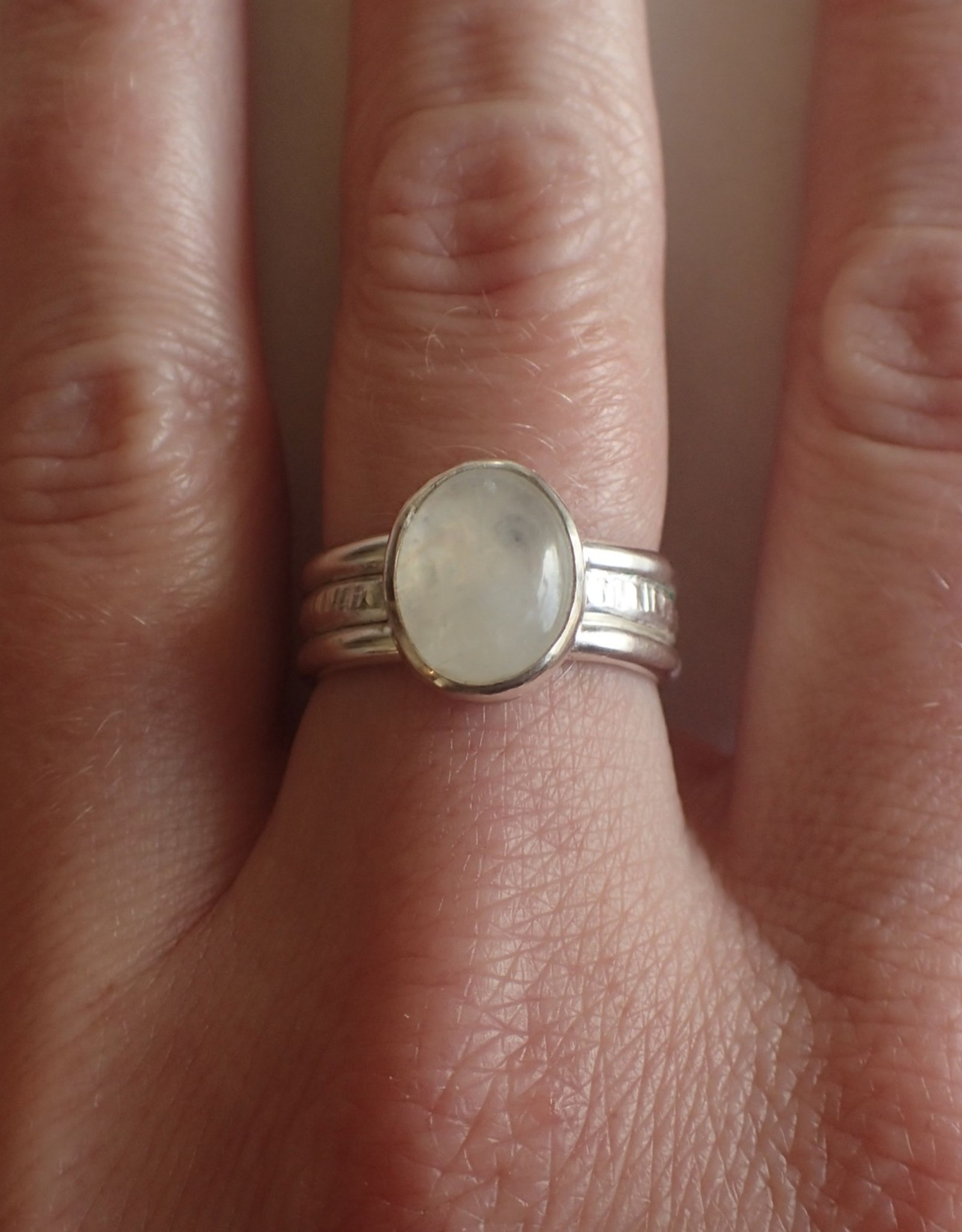 Lilly Parker Moonstone, Sterling Silver Ring. Size 7