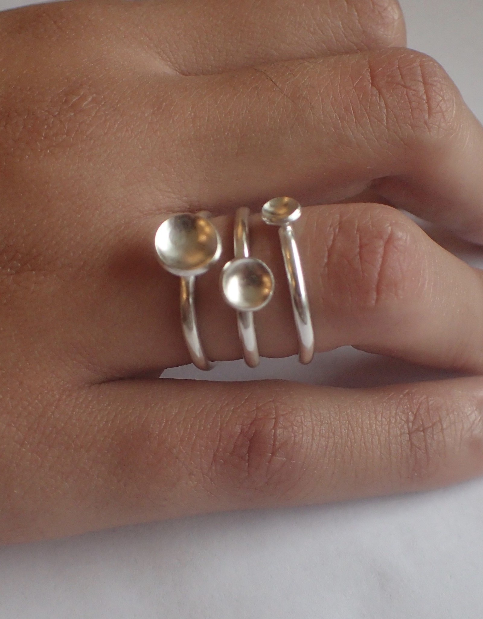Lilly Parker Stacking Rings With Concave Disk, Set Of 3, Size 7