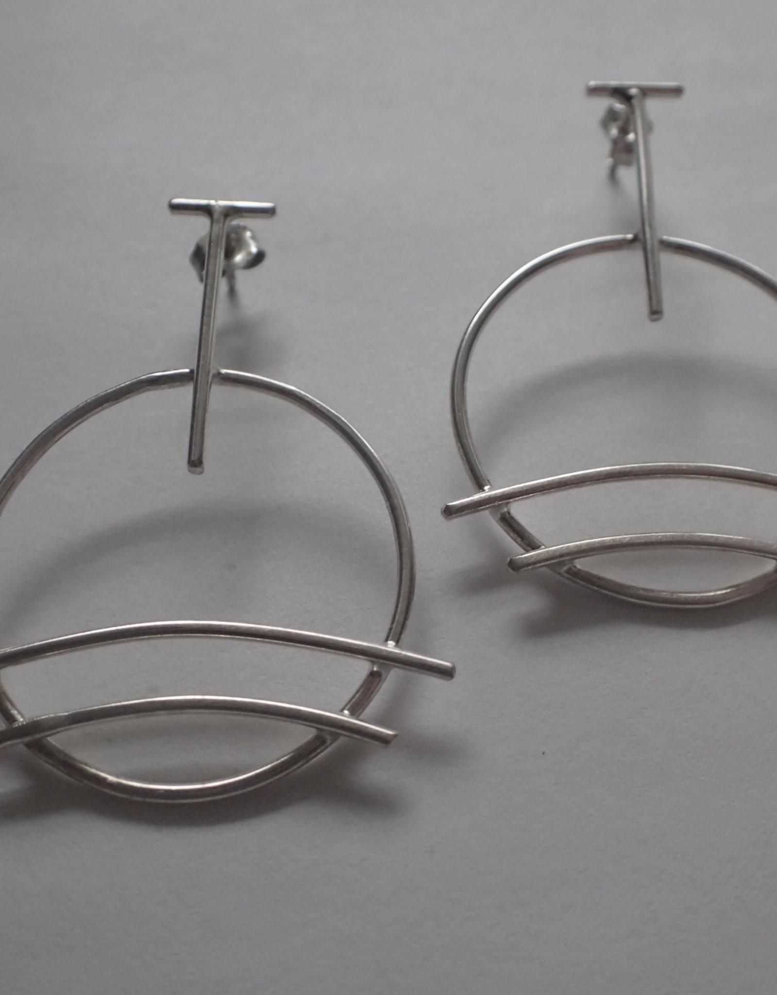 """Lilly Parker Sterling Silver """"Bridge"""" Post Earrings"""