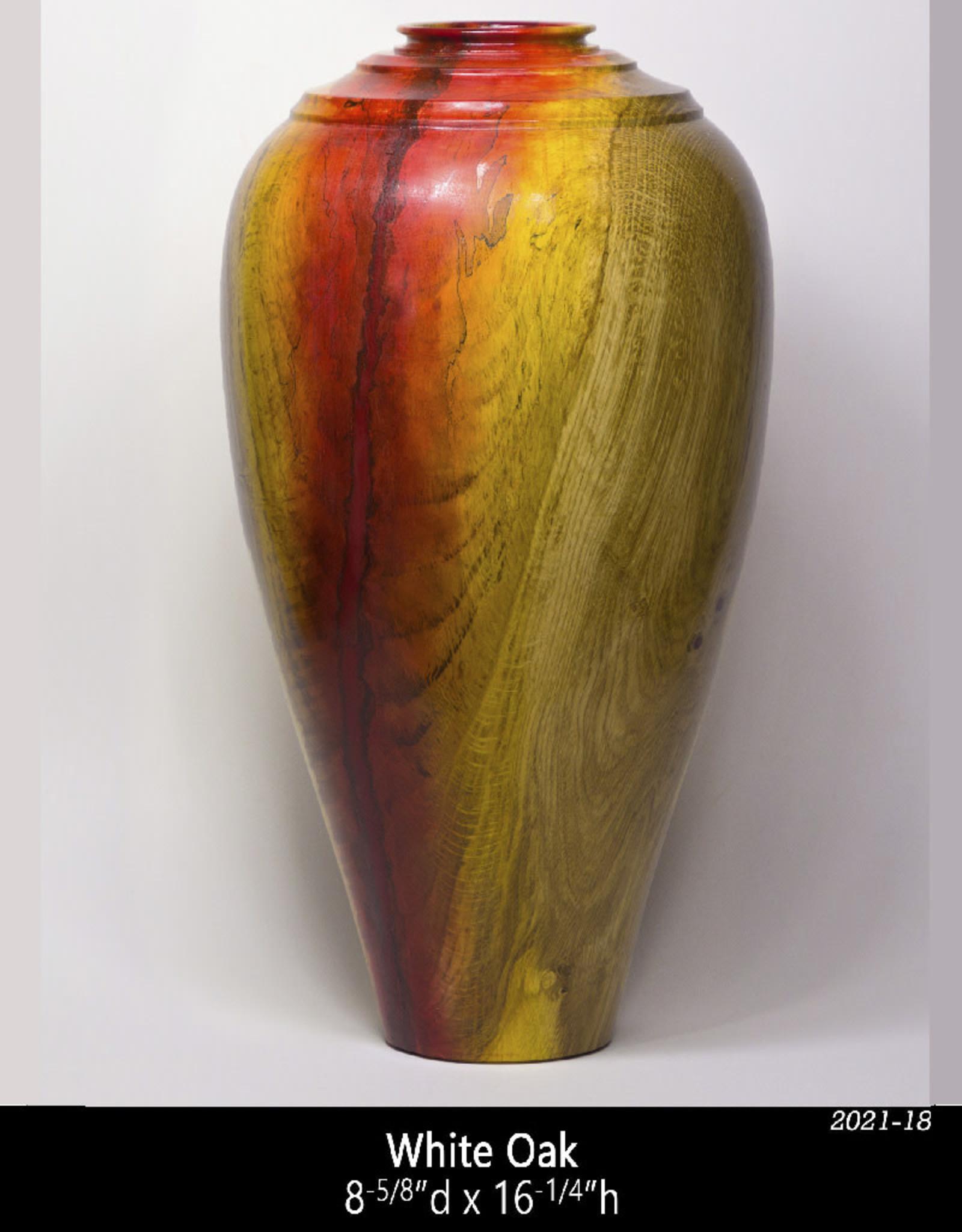 Guest Artist, Jeff Strickler 2021-18 Oak Vase – red and yellow Jeff Strickler